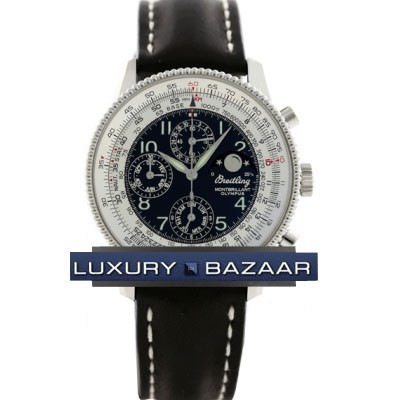 Breitling Montbrillant Olympus (SS / Black / Leather )