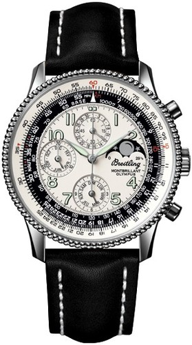 Breitling Montbrillant Olympus (SS / Silver / Leather )