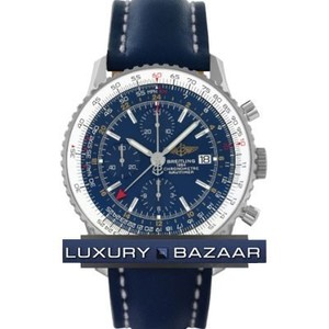 Breitling Navitimer World a2432212 / c651-3LT (SS / Blue / Leather)