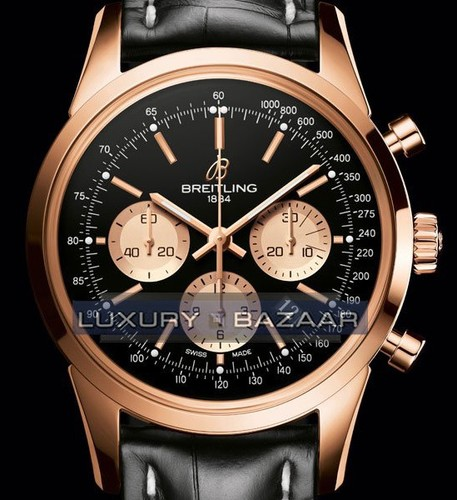 Breitling Transocean Chronograph Limited (RG / Black / Leather Strap)