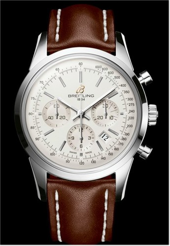Breitling Transocean Chronograph Limited (SS / White / Leather Strap)
