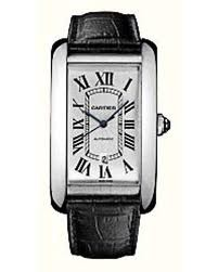 Cartier Americane Tank Extra Large ( WG/ Silver /Leather)
