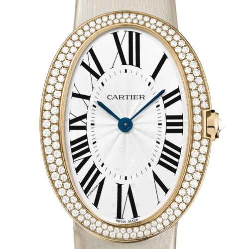 Cartier Baignoire Large (RG-Diamonds / Silver/ Fabric)