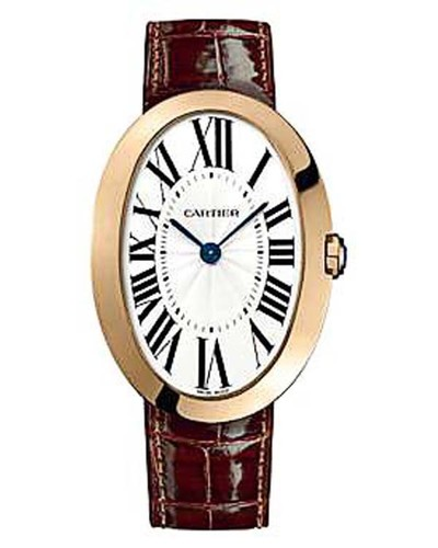 Cartier Baignoire Large (RG / Silver/ Leather)