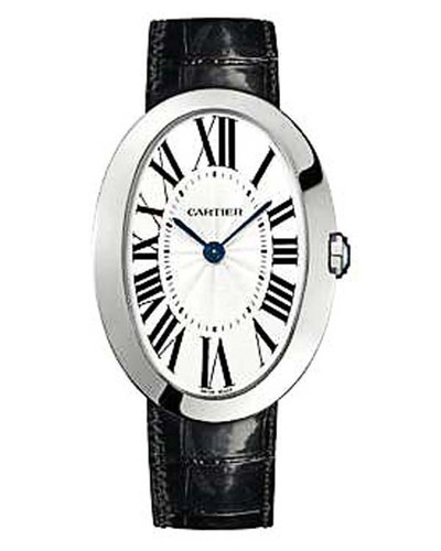 Cartier Baignoire Large (WG / Silver/ Leather)