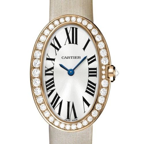 Cartier Baignoire Small (RG-Diamonds / Silver/ Fabric)
