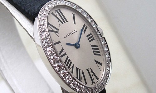 Cartier Baignoire Small (WG-Diamonds / Silver/ Fabric)