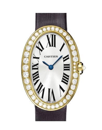 Cartier Baignoire Small (YG-Diamonds / Silver/ Fabric)