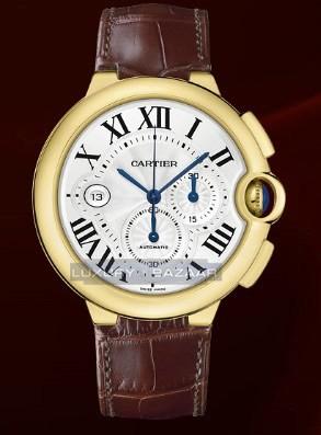 Cartier Ballon Bleu Extra Large Chronograph (YG / Silver/ Leather)