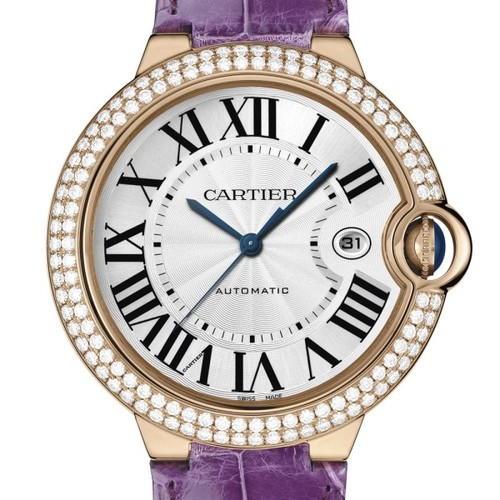 Cartier Ballon Bleu Large (RG- Diamonds / Silver/ Leather)