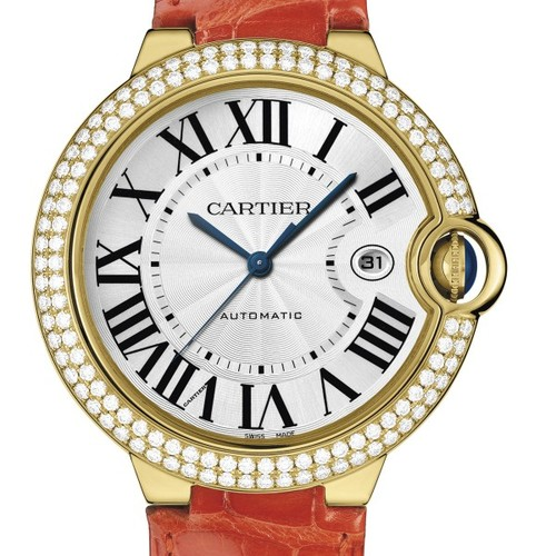 Cartier Ballon Bleu Large (YG- Diamonds / Silver/ Leather)