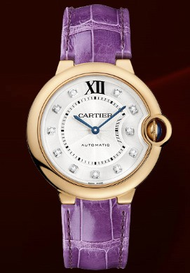 Cartier Ballon Bleu Medium (PG / Silver-Diamonds / Leather Strap)