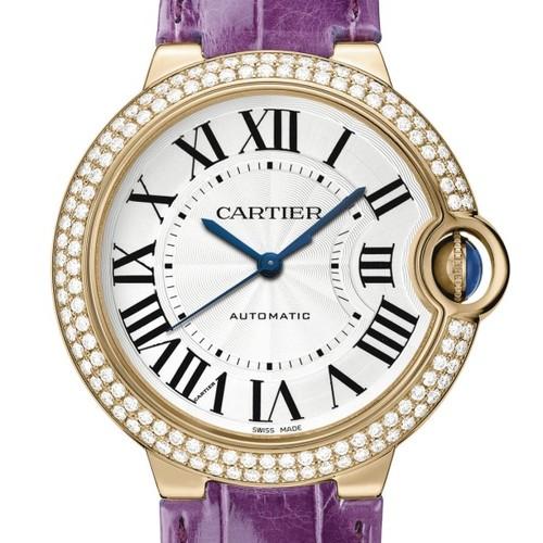 Cartier Ballon Bleu Medium (RG- Diamonds / Silver/ Leather)