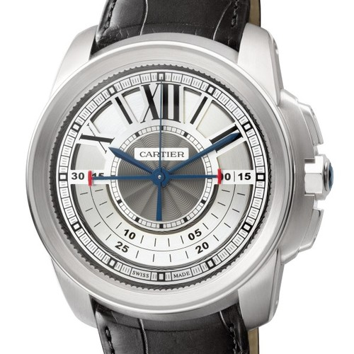 Cartier Calibre Central Chronograph (WG / Silver/ Leather)