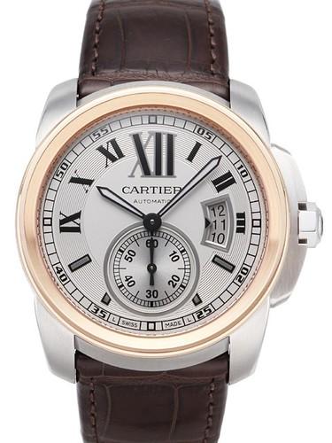 Cartier Calibre de Cartier ( SS-RG / Silver / Leather Strap)