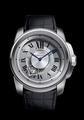 Cartier Calibre de Cartier Astrotourbillon (Titanium / Silver / Leather Strap)