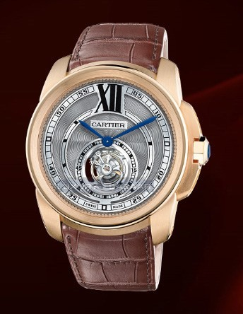Cartier Calibre De Cartier Flying Tourbillon (RG/ Silver/ Leather)