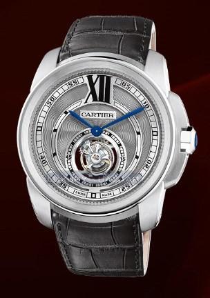 Cartier Calibre De Cartier Flying Tourbillon (WG/ Silver/ Leather)