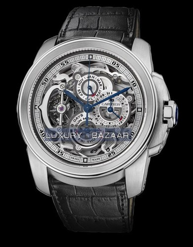 Cartier Calibre de Cartier (Platinum / Skeleton / Leather Strap)