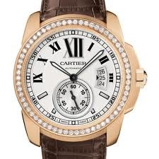 Cartier Calibre De Cartier (RG- Diamonds/ Silver /Leather)