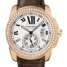 Cartier Calibre De Cartier (RG- Diamonds/ Silver /Leather)