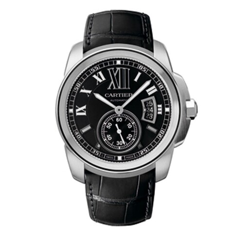 Cartier Calibre De Cartier (SS / Black / Leather Strap)