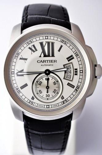 Cartier Calibre De Cartier (SS / Silver / Leather Strap)