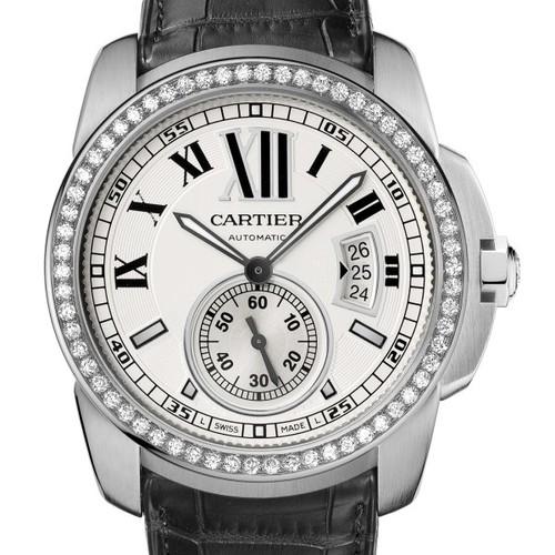 Cartier Calibre De Cartier (WG- Diamonds/ Silver /Leather)