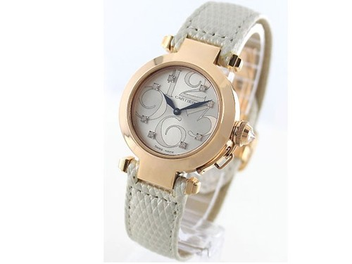 Cartier Pasha 32 mm Diamond Rose Gold Ladies (RG / Frosted-Diamonds / Leather Strap)