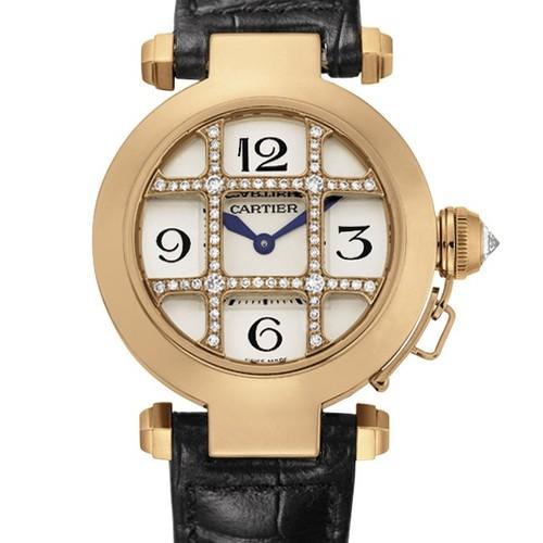 Cartier Pasha 32mm (RG - Diamonds/ Silver /Croc Leather)