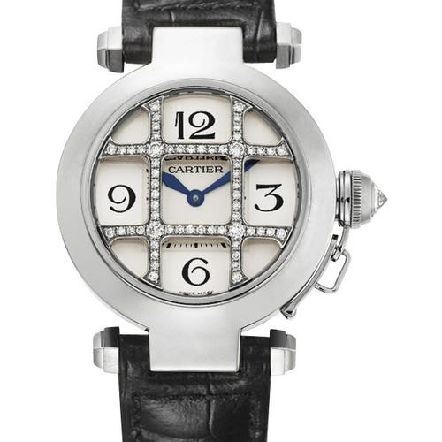 Cartier Pasha 32mm (WG - Diamonds/ Silver /Croc Leather)
