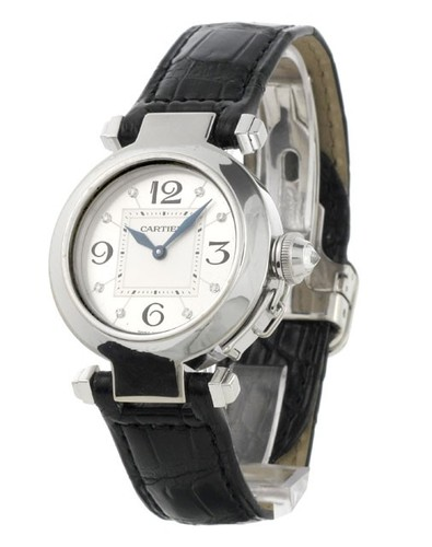 Cartier Pasha Small 1 (WG/ Silver- Diamonds / Leather)