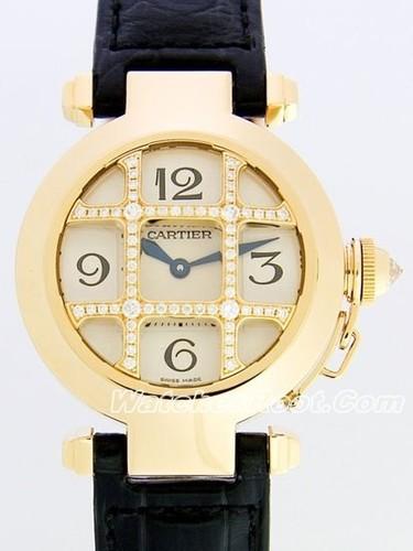 Cartier Pasha 32mm (YG - Diamonds / Silver /Croc Leather)