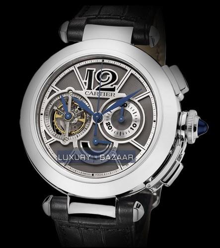 Cartier Pasha de Cartier Tourbillon (WG / Slate / Leather Strap)