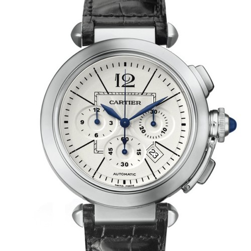 Cartier Pasha Extra Large Chronograph (SS/ Silver/ Leather)