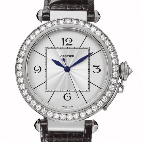 Cartier Pasha Extra Large (WG- Diamonds / Silver / Leather)