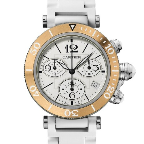 Cartier Pasha Seatimer Chronograph Medium (RG- SS/ Silver /Rubber)