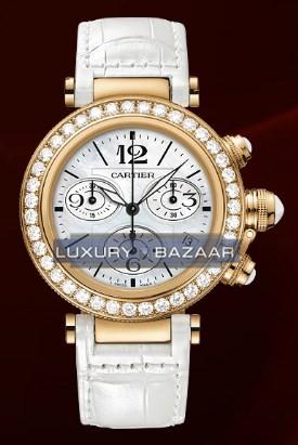Cartier Pasha Seatimer Medium (RG- Diamonds / MOP / Leather)