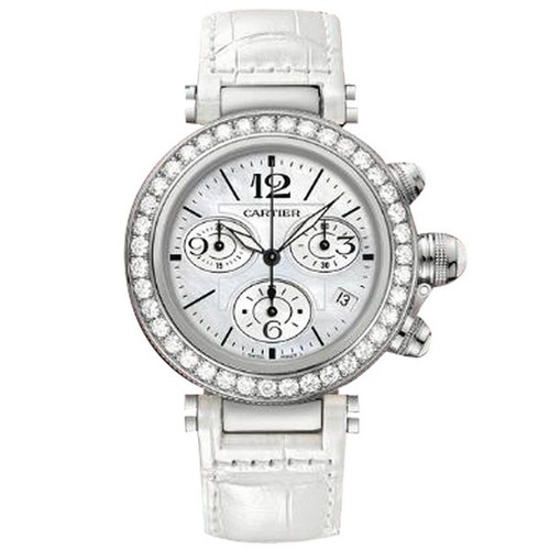 Cartier Pasha Seatimer Medium (WG- Diamonds / MOP / Leather)