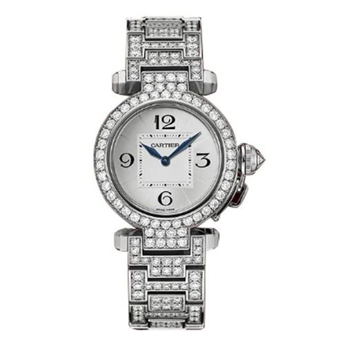 Cartier Pasha Small (WG-Diamonds/ Silver/WG-Diamonds)