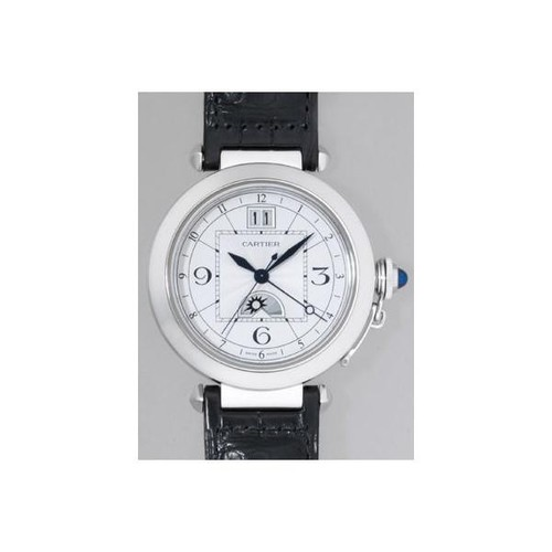 Cartier Pasha XL (SS / Silver / Leather Strap)