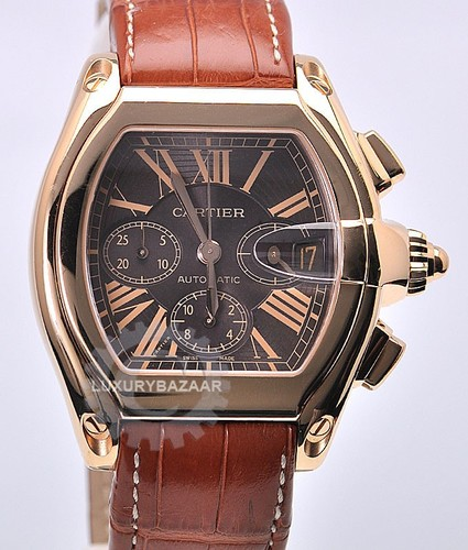 Cartier Roadster Chronograph Automatic (PG / Brown / Leather Strap)