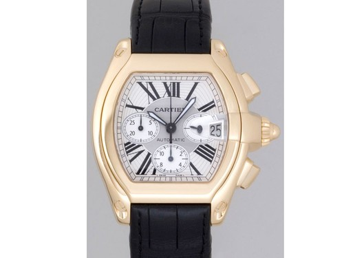 Cartier Roadster Chronograph (YG / Silver / Croc Leather )