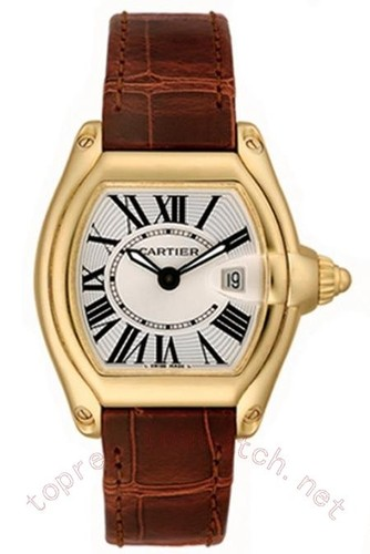 Cartier Roadster Ladies (YG / Silver / Croc Leather)