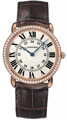 Cartier Ronde Louis Large (RG- Diamonds / Silver / Leather)