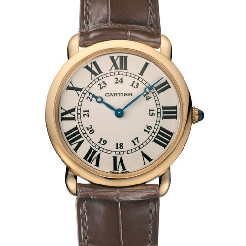 Cartier Ronde Louis Large (RG / Silver / Leather)