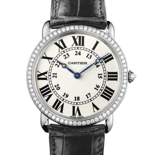 Cartier Ronde Louis Large (WG- Diamonds / Silver / Leather)