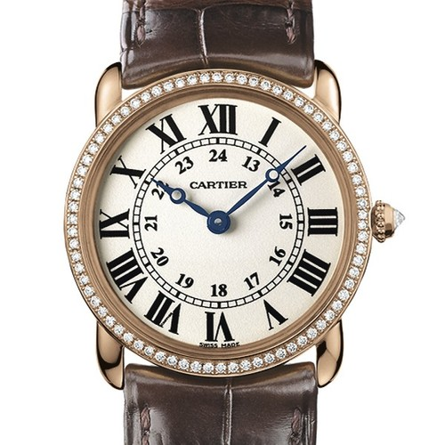 Cartier Ronde Louis Small (RG- Diamonds / Silver / Leather)