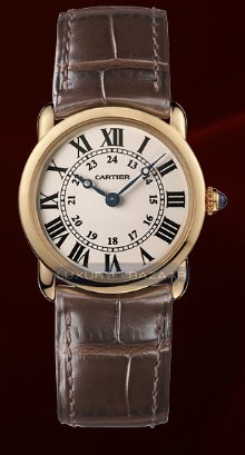 Cartier Ronde Louis Small (RG / Silver / Leather)