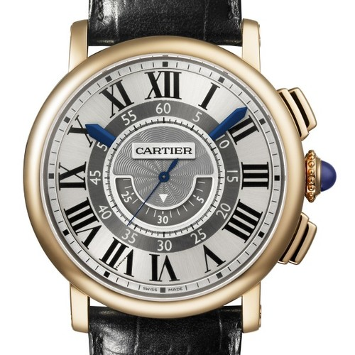 Cartier Rotonde Central Chronograph (RG / Silver/ Leather)